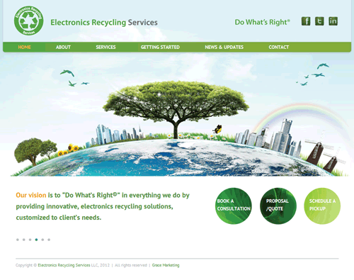 The homepage for Electronics Recycling Services shows an enormous tree towering over the Earth and skyscrapers.